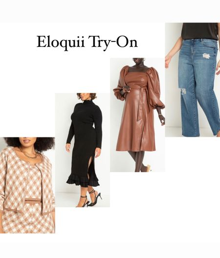 Eloquii Unlimited try-on! Checked cardigan, black sweater dress, faux leather puff sleeve dress, straight leg jeans. All fit true to size.    #LTKcurves #LTKworkwear #LTKHoliday
