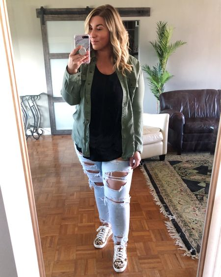 The last outfit (for now) from my Spring Aerie and American Eagle try on haul and possibly my favorite! Super bummed this exact utility button up shirt is sold out, but still wanted to share for inspo so I've linked a few similar options here. I'm wearing an XL for reference and love that there are so many ways to style this! I paired it with these mom jeans that I am obsessed with, a plain black tank and the cutest leopard sneakers. The jeans are true to size, very flattering on and don't get baggy. They're 25% off today as well. Highly recommend! @liketoknow.it #liketkit #LTKcurves #LTKspring #LTKsalealert #midsizestyle #midsizefashion #affordablestyle #momjeans #utilityshirt #americaneagle #midsizeblogger #springstyle http://liketk.it/2LnHI