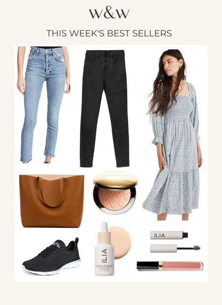This week's bestsellers!  A favorite pair of high waisted light wash jeans  My favorite gray black jeans  Madewell summer smocked dress  Cuyana leather tote for work  Westman Atelier bronzer  Apl techloom sneakers  Ilia Beauty tinted skin serum  Ilia brow gel  Chanel rouge coco gloss in Shade 722