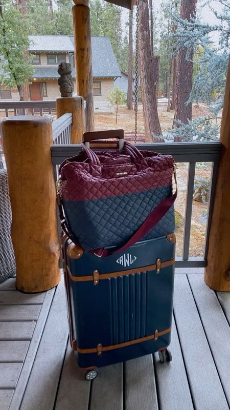Loving this MZ Wallace tote for travel! It's so easy to attach to your suitcase! ❤️ #travel #traveltote #luggage #quiltedbag