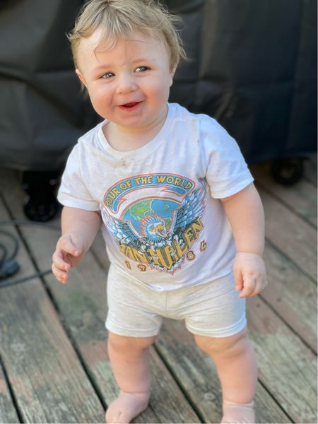 Babies in band tees 😍 oh the cutest. I sized up for him in the shirt and shorts!   #LTKkids #LTKbaby