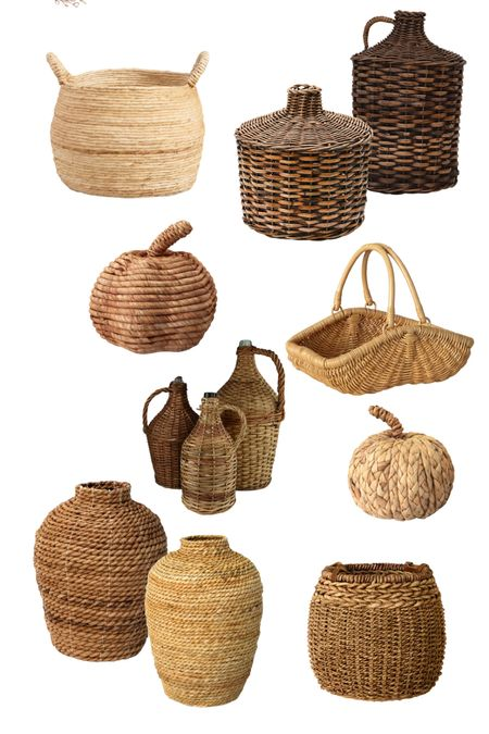 Woven baskets, vases and pumpkins please!  Adding woven decor to your home brings in a fall vibe   Demi John vase   antique vase   world market find   target finds   vintage baskets   vintage vase   amber interiors   fall decor   Target fall decor   #LTKstyletip #LTKSeasonal #LTKhome