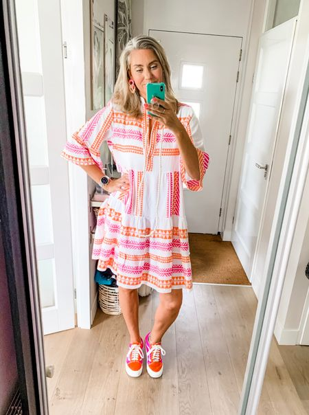 Outfits of the week - Friday  One size fits tall girls 🙌🏼. This dress is 100% cotton and would easily fit up to a xl-xxl.   Sneakers fit tts and earrings are lightweight and comfortable enough for all day wear.     #LTKSeasonal #LTKeurope #LTKstyletip