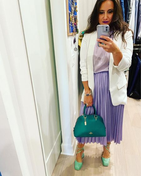 If you are shopping for something special…. Get a pleated skirt and a green bag. You will thank me later 😉😘  #LTKSeasonal #LTKitbag #LTKstyletip