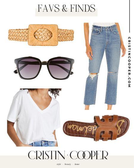Favs & Finds // Belt // Sunglasses // Sandals // Jeans // V-Neck http://liketk.it/3gkEb #liketkit @liketoknow.it