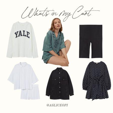 📷 What's in my cart- H&M. Long sleeve T-shirt, green pj set, white linen set, shacket, polka dot dress! http://liketk.it/3luLb #liketkit @liketoknow.it