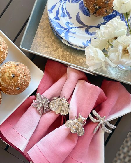 These napkins are snug a bug in these fun assorted napkin rings.  Perfect addition to any table on those spring and summer days.   Silver napkin rings.  Assorted napkins rings.  Bees. Butterflies.  Dragonflies.   You can instantly shop my looks by following me on the LIKEtoKNOW.it shopping app http://liketk.it/3itBV    #liketkit #LTKhome #LTKunder50 @liketoknow.it @liketoknow.it.home