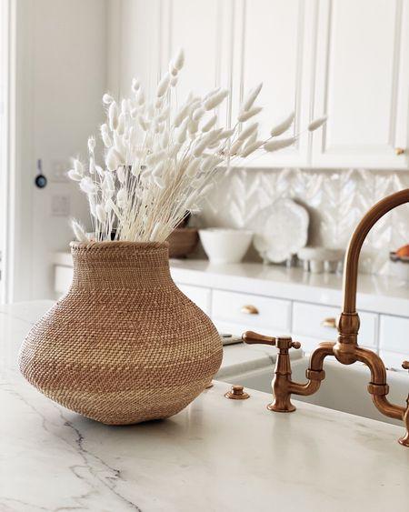 Pretty kitchen details, kitchen decor, woven vase, white kitchen, accessories. #StylinAylinHome  #LTKhome #LTKunder50
