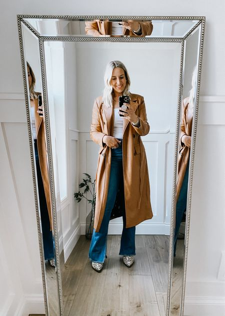 Nordstrom Anniversary Sale  Leather (faux) trench coat in camel. Beautiful feel, really soft. Runs a tad large.   Fall jacket, leather trench coat, Nordstrom Anniversary Sale, fall jacket.   #LTKsalealert #LTKSeasonal #LTKstyletip