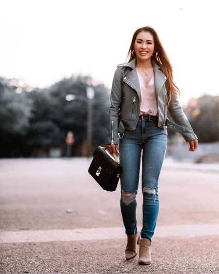 Nordstrom Anniversary NSale outfit  AllSaints Balfern leather jacket sage green - 00 / TTS  Good American Good Legs jeans - 00 / TTS  Steve Madden ankle booties - 5.5 / TTS  Fall outfit   #LTKstyletip #LTKitbag #LTKsalealert