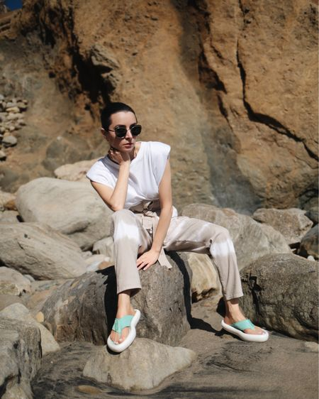 Summer envy Recycled flip flop by Stella McCartney Tie-Dye cotton pants by Stella McCartney  http://liketk.it/3h9PS #liketkit @liketoknow.it  #summersandals #sustainablefashion #luxury #platformflipflop #platformshoes #stellamccartney #summerstyle