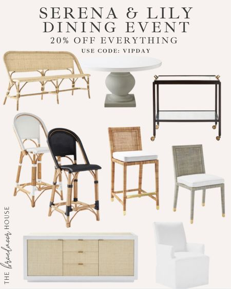 Serena and Lily is one of my favorite stores! Their furniture is beautiful and built to last! It's a great investment! Get 20% off everything with code VIPDAY  Dining furniture, counter stools, barstools, bedroom furniture, bar cart, Console, media Console, sideboard, upholstered dining chairs, white dining furniture, barstool, breakfast nook, dining table, round dining table, bench, neutral Decor, fall Decor,  #LTKhome #LTKsalealert #LTKHoliday