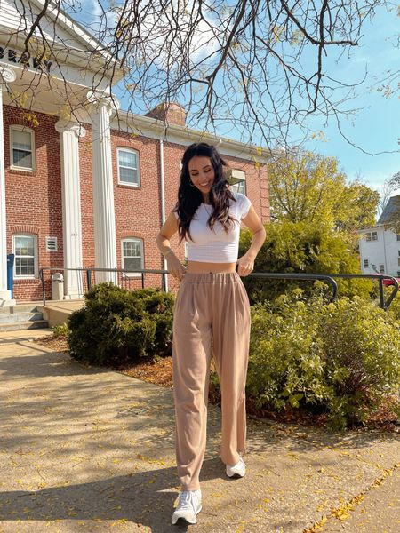 Hailey Bieber inspired neutral fall outfit white crop top and tan/beige wide leg trousers. Code KATHLEEN gets 15% off at BohMe!  #LTKSeasonal #LTKunder50 #LTKstyletip