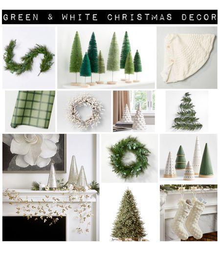 Green and white Christmas decor, Christmas tree, wreath, garland, bottle brush tree, tree skirt, Mantel decor   #LTKHoliday #LTKSeasonal #LTKhome