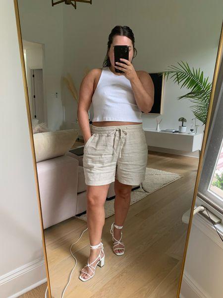Summer outfit white strappy heels linen shorts    #LTKsalealert #LTKunder50 #LTKstyletip
