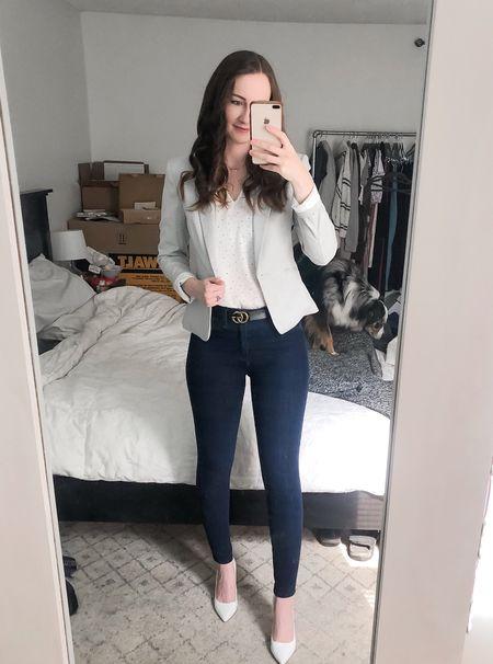 Work wear, realtor outfit, real estate outfit, business casual, white heels, light grey blazer  #LTKunder50 #LTKstyletip #LTKworkwear