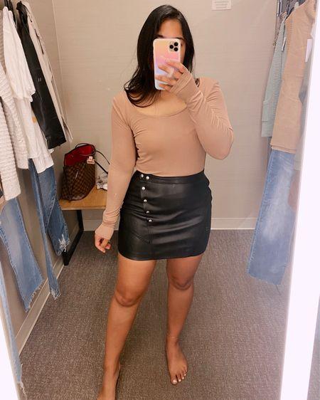 Nordstrom anniversary sale try-on!!  faux leather skirt runs small, size up   #LTKsalealert #LTKSeasonal #LTKunder100