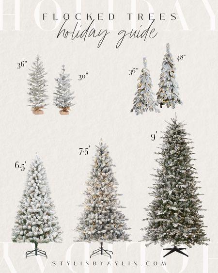 Flocked Christmas Trees, Decorating, Christmas Tree, Holiday #StylinAylinHome  #LTKSeasonal #LTKhome #LTKHoliday