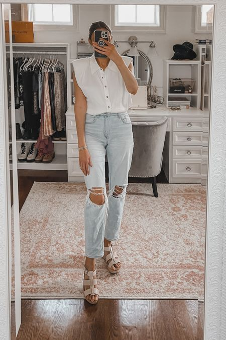 Shoulder pad button down blouse, ripped mom jeans, nude wedges   #LTKunder50 #LTKstyletip #LTKunder100