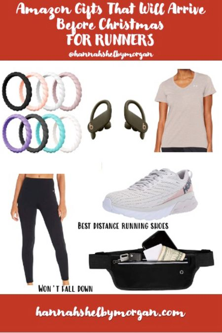 These are my favorite, tried & true running/workout things! 🏃🏻♀️  The shoes, leggings & shirts are TTS. I wear a 7.5 in the Hokas, medium in the leggings and small/medium in the shirt (depending on if I want it right or loose fitting). What I love about the running Fanny pack is being able to carry my phone, keys, chapstick and a Kleenex in it on my runs! It seriously holds SO much. 🙌🏻   http://liketk.it/34kHX @liketoknow.it #liketkit #LTKgiftspo #LTKunder50 #LTKfit