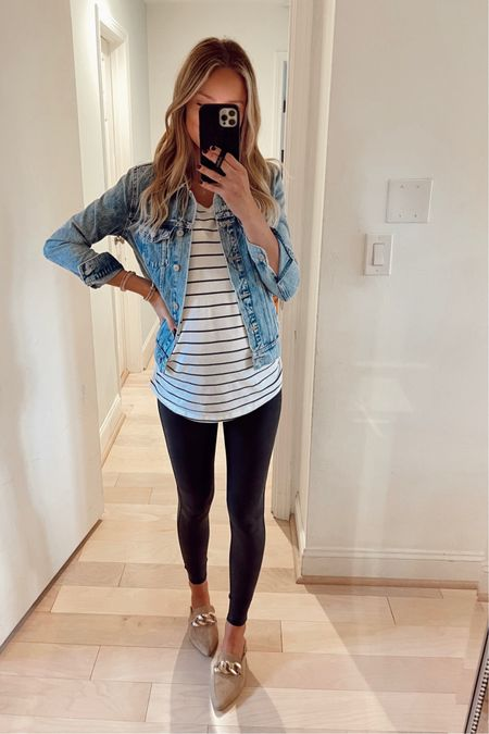 Today's casual outfit. Pregnancy style. Xs top, xs jacket, small leggings, shoes TTS   #LTKbump