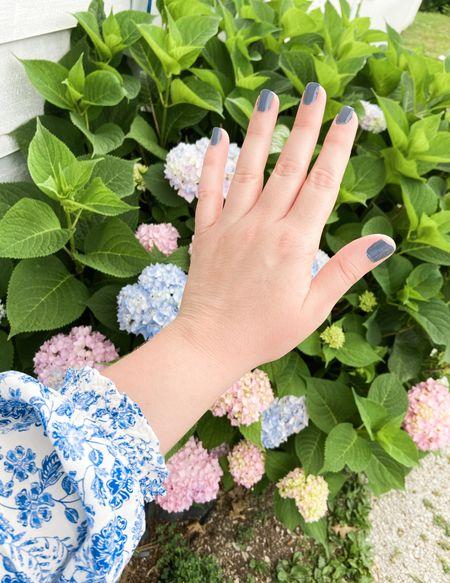 Always love a blue and white moment  Floral blouse   blue and white floral blouse   blue nail polish   essie nail polish   grandmillennial style   grandmillennial fashion   #LTKstyletip #LTKunder50