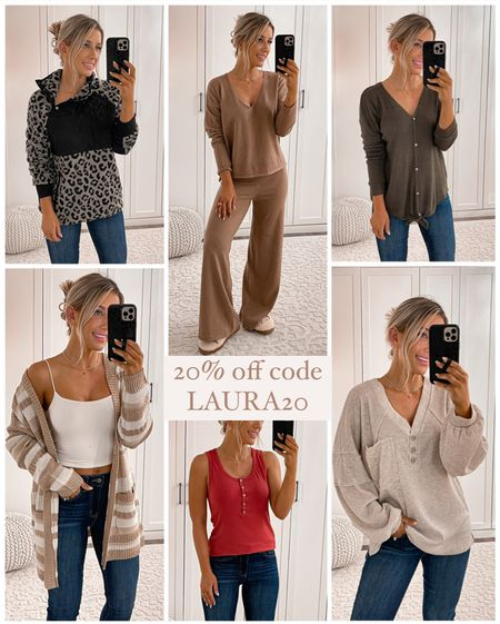 20% off pink lily code LAURA20  Wearing size small in all tops Lounge set runs a little small Jeans size 24 Tan booties size 7 Gold hair clip   #fall #outfits #laurabeverlin   #LTKunder50 #LTKstyletip #LTKsalealert