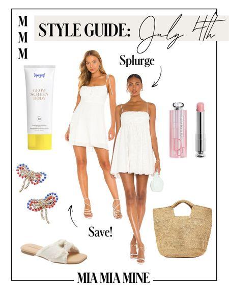 4th of July outfit  Revolve white dress Nordstrom slide sandals Bloomingdale's straw bag Baublebar earrings   http://liketk.it/3i1rj #liketkit @liketoknow.it  #LTKunder100 #LTKstyletip  #summerdress #july4