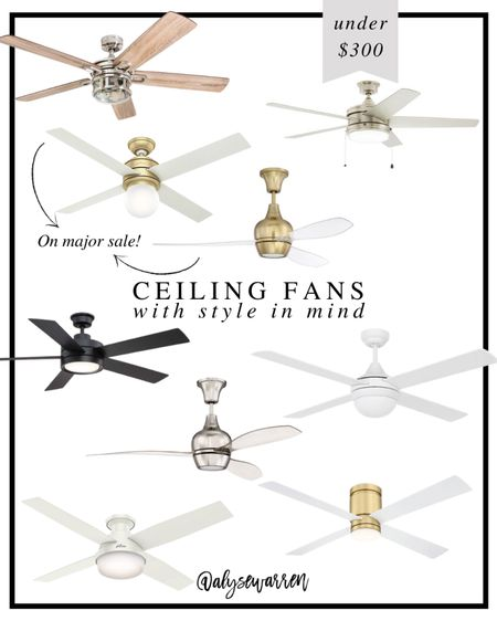 The two noted are under $200, as it's the best deal I've ever seen!   Ceiling fans with lights, living room, bedroom inspiration, brass and acrylic ceiling fan, black ceiling fan, office, home decor   #homeinspo #homedesign  #LTKhome
