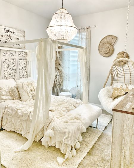 """Today I'm sharing my daughters """"Boho Beach Bungalow"""" bedroom! I've been in awe over some of the design I see out of Australia and was so inspired! Quite the difference from her last room which was beyond colorful and vibrant. I really wanted this to be a calm, peaceful space!  . . . Swipe to see a video of the space! You can instantly shop my looks by following me on the LIKEtoKNOW.it shopping app @liketoknow.it.home http://liketk.it/2JVr6  . . . #bohobedroom #interior123 #neutralbedroom #tweenbedroom #tweendecor #teenbedroom #dormbedroom #beachbungalow  #bhghome #beautifuldecorstyles #bhgstylemaker #instahome #bedroom #girlsbedroom #anthrostyle #homewithrue #showmeyourstyled #beachcottage #ltkhome #prettylittleinteriors #doingneutralright #hgtv #bedroomideas #bedroomdecor #sodomino     #liketkit @liketoknow.it"""