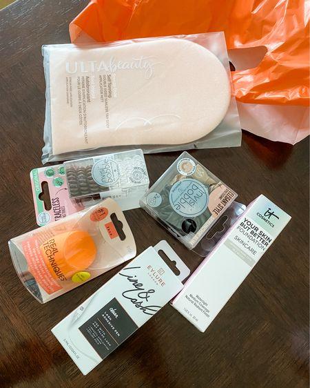 Ulta beauty haul / medium coverage foundation (light neutral 22) / eye lash glue pen / beauty blender / hair ties / silk scrunchie / tanning mitt @liketoknow.it http://liketk.it/3jYbB #liketkit #LTKunder50 #LTKbeauty #LTKsalealert