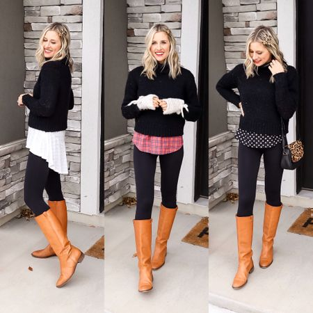 Three ways to wear the same black turtleneck and leggings! These are al pieces from my winter #capsulewardrobe, and I've had them for several years. #lovedclotheslast  I found similar items that are all on sale at places like @target @shopbop @anthropologie and @oldnavy. Happy Black Friday Shopping!  http://liketk.it/2HvAy @liketoknow.it #liketkit #LTKshoecrush #LTKsalealert #blackfridaydeals #winteroutfitideas