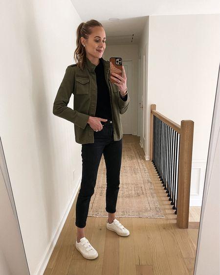Casual daily look, green utility jacket, black jeans, Veja sneakers, fall capsule wardrobe #falloutfits #capsulewardrobe #veja #sneakers   #LTKstyletip #LTKshoecrush #LTKunder100