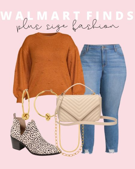 This will be your go to plus size fall outfit and it's all affordable Walmart finds! Plus size fashion doesn't have to be boring! These best selling Sofia Vergara plus size jeans and Eloquii Elements sweater are under $30 each!   #LTKstyletip #LTKcurves #LTKunder50