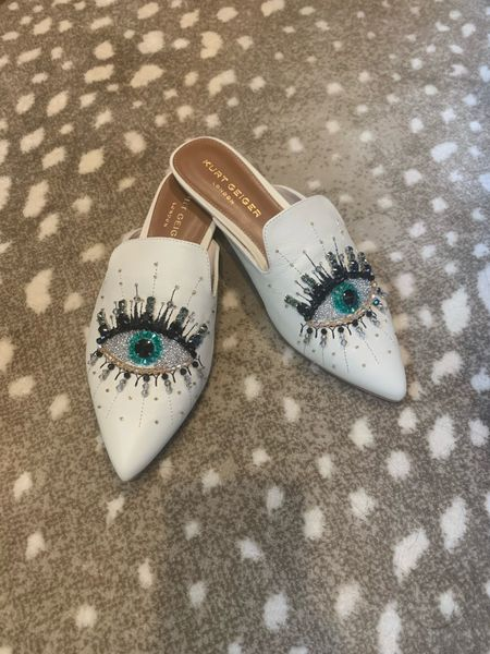 The most fun evil eye mules! The white leather will transition well into spring and they'll still fit no matter how many Covid pounds you've gained!   #LTKSeasonal #LTKshoecrush #LTKstyletip