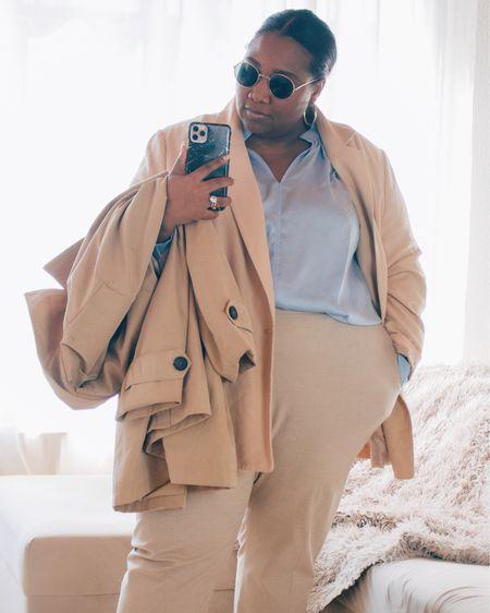 Plus-size blazer, plus-size trench coat, plus-size pantalon, Ray-Ban Gold sunglasses #plussizefashion #curvy http://liketk.it/3eEP0 #liketkit @liketoknow.it #LTKcurves #LTKstyletip #LTKunder50 @liketoknow.it.europe