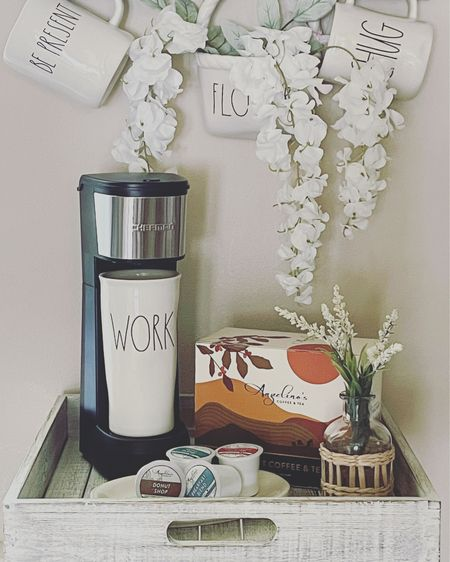 Coffee Station for a one cup coffee maker. This is for my office coffee bar.    Shop my daily looks by following me on the LIKEtoKNOW.it shopping app   @liketoknow.it @liketoknow.it.home #liketkit #LTKunder50 #LTKsalealert #LTKhome http://liketk.it/3igmX