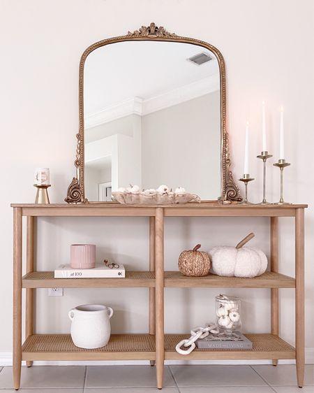 How I styled our cane bookshelf for fall 🤍  target, fall decor, primrose mirror, amazon, tj maxx, pumpkin decor, fall candle  #LTKunder50 #LTKhome #LTKunder100