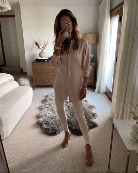 Mango satin fitted button up shirt, super feminine - xs Fuseau style stirrup leggings in cream xs Express clear strap sandals  Gold jewelry linked all under $100   #LTKshoecrush #LTKunder100 #LTKstyletip