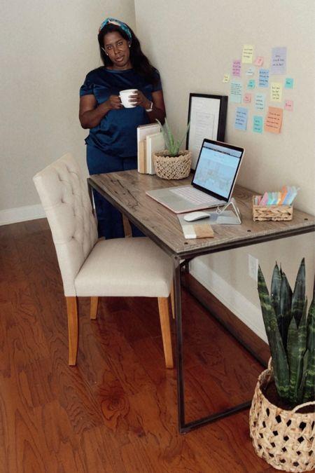 Living room desk setup.