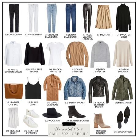 Fall Capsule Collection - Row 2  White button down shirt, black blouse, off the shoulder, white tee, black t-shirt, camel sweater, grey sweater, cream sweater, fall staples, fall wardrobe  #LTKstyletip #LTKSeasonal #LTKworkwear