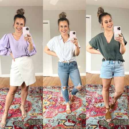 These target tops are so cute and all under $20! This purple one would be perfect for the office, this linen shirt is a madewell dupe and I love this striped top for spring or summer! Also linked my jeans shorts, Levi's and white skirt   #LTKstyletip #LTKworkwear #LTKunder50