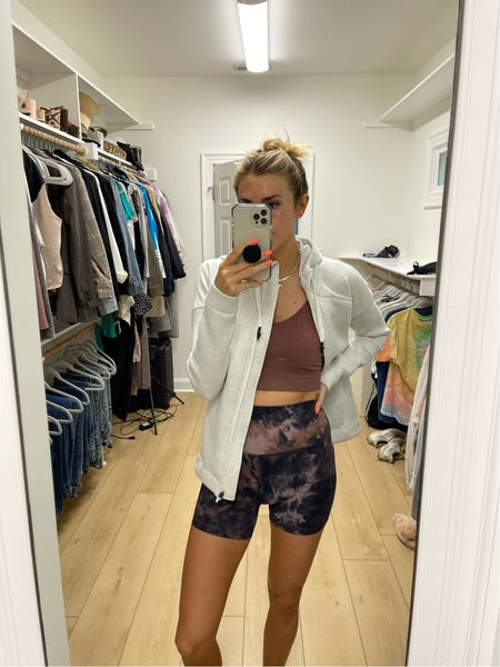 Small in jacket (same style linked below but different color), m/l in sports bra, & 6 in shorts (same shorts linked, just come in a ton of colors)  #LTKfit #LTKunder100
