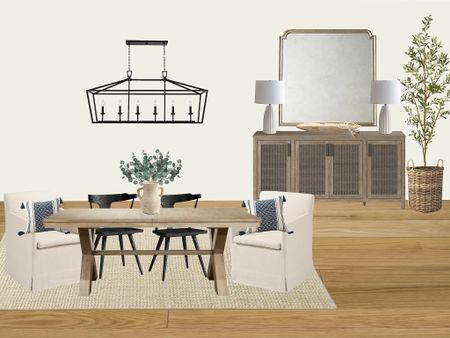Neutral dining room design   Benjamin Moore white dove walls with pottery barn black side chairs and world market upholstered end chairs   #LTKhome