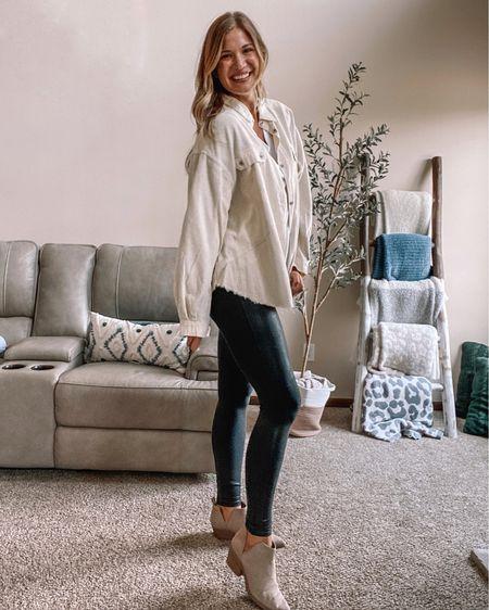 Amazon white v neck tee/ Spanx faux leather leggings on sale! I wear xl tall / ivory corduroy mixed media jacket / beige booties  #LTKstyletip #LTKunder100 #LTKsalealert