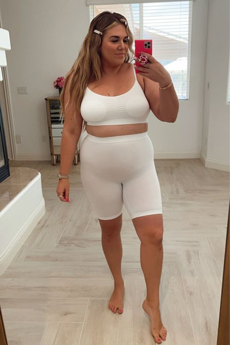 curvy skimmies and bralette in white! wearing the size xl in bra and size large in shorts http://liketk.it/3gNC7 #liketkit @liketoknow.it #LTKcurves #LTKunder50