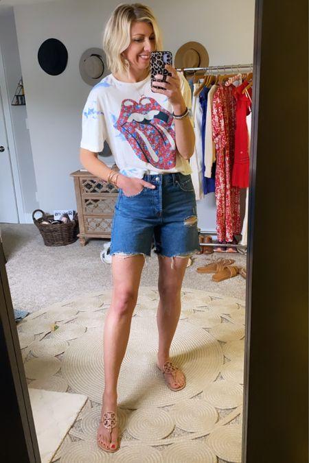 http://liketk.it/3gl4q #liketkit @liketoknow.it  Memorial Day outfit ideas...the cutest graphic #LTKunder50  tee + denim shorts + sandals 🇺🇸 #LTKstyletip #LTKtravel