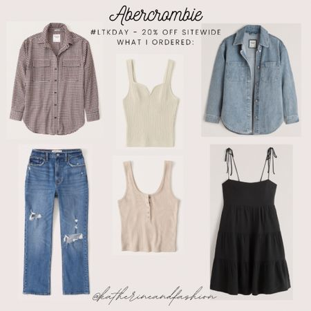 What I ordered from the Abercrombie sale! Two shirt jackets - will be great for transitioning from summer to fall. Two basic tanks, straight leg jeans and a black tiered dress   #LTKunder100 #LTKDay #LTKsalealert