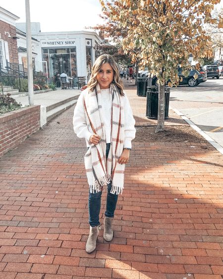🍂🍁🍂Such a fun girls day out to brunch and shopping. Wore this super soft plaid scarf and bubble sleeve sweater to keep warm and realized both are on sale right now - get 35% off my sweater with code WEARNOW & 40% off my scarf with code BOO bringing it under $30 🙌🏼  Shop all my looks in the LIKEtoKNOW.it app! Simply download the app, give me a follow or screenshot one of my IG pics to shop! http://liketk.it/2GevP #liketkit @liketoknow.it