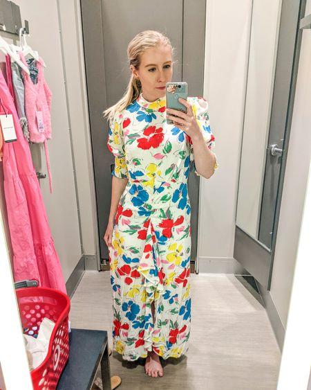 Target try-on. Multicolored floral print maxi dress. Great wedding guest dress. http://liketk.it/3gMho @liketoknow.it #liketkit #LTKunder100 #LTKworkwear